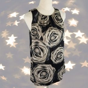 ↠Express Black/Gray Roses Print Sleeveless Top↞